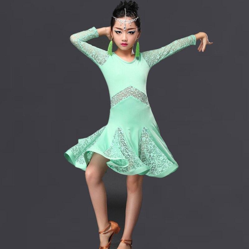Kids Professional Latin Dance Dress Girls Ballroom Dance Dress for Stage Long Sleeve Tango Dancewear Cha Cha Dance Clothing 89