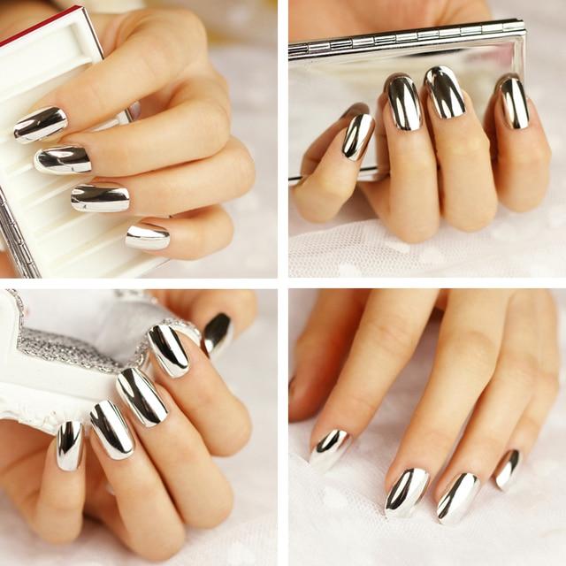 24 PCS NEW Metallic False Artificial Nails Fashion Stiletto Tips ...
