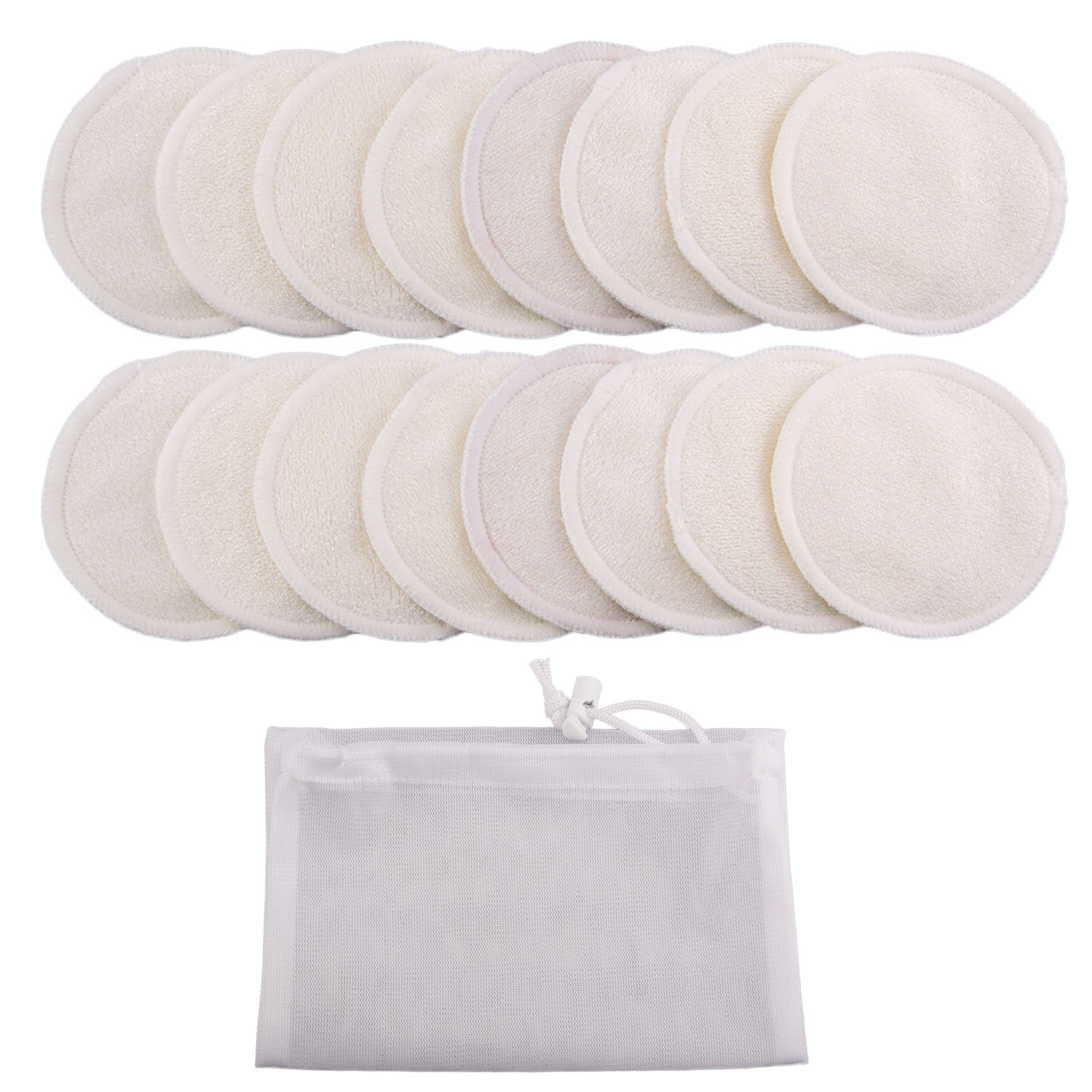 16Pcs/set Reusable Cotton Makeup Remover Pads With Bag 3.15 Inch Washable Eyeshow Nail Art Remover Pad Face Cleaning Cotton Pads