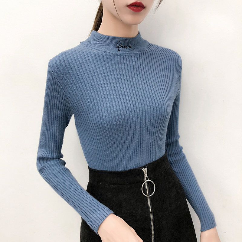 Gkfnmt Knitted Sweater Warm Jumper Pullovers Embroidery Half-Turtleneck Long-Sleeve Female