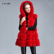 Faux Fur Vest Woman Hooded Long Coat Multi-Color Choices CACARE F0143 Sleeveless Skirt Style Covered Button Streetwear
