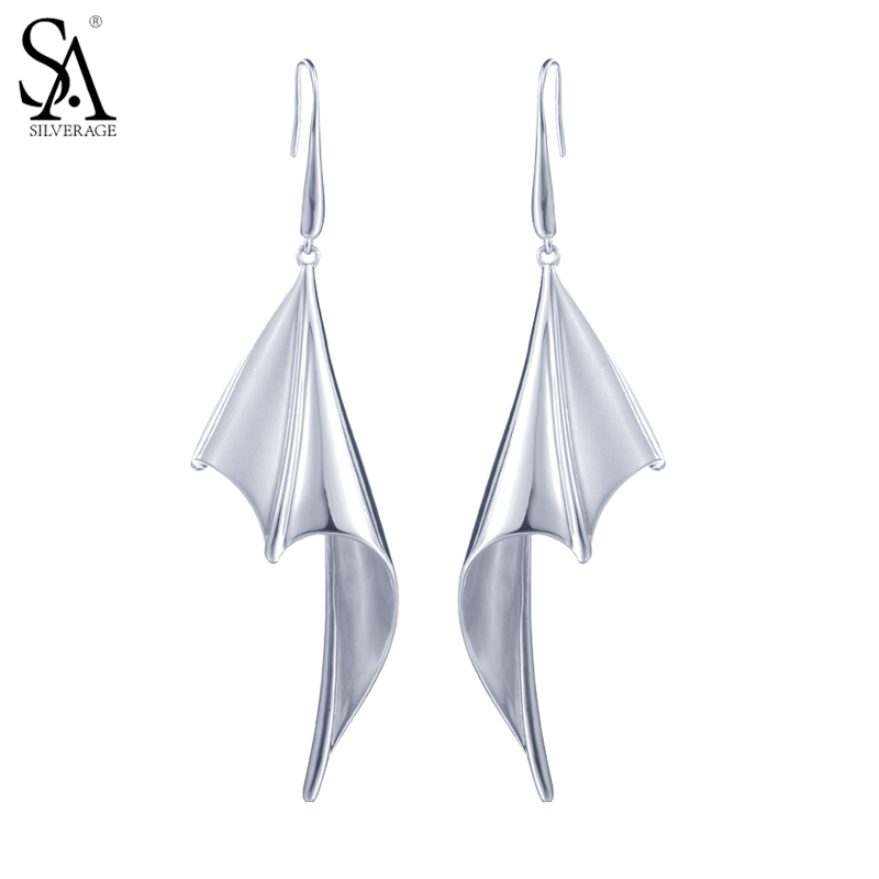 SA SILVERAGE 925 Sterling Silver Drop Dangle Earrings For Women Fine Jewelry Bat Wings 2017 New Arrival High Quality Lady Gift цена
