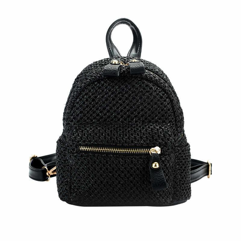 07b4120e16cb ... Рюкзаки Женские 2018 национальные соломенные плетеные пляжные мини-сумки  женские дорожные рюкзаки подростковые девочки летние ...