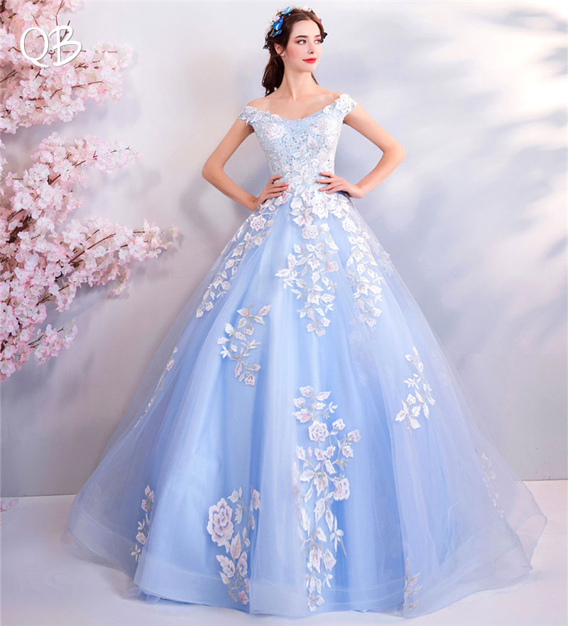 Sky Blue Ball Gown Fluffy Skirt Lace Beading Flowers Elegant Formal Luxury   Evening     Dresses   Bride Banquet Party Prom   Dress   XK70