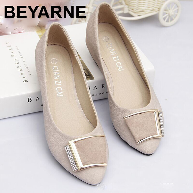 solid color flats woman 2016 spring square metal buckle flat shoes for woman point flats sepatu flat zapatos planos 44size