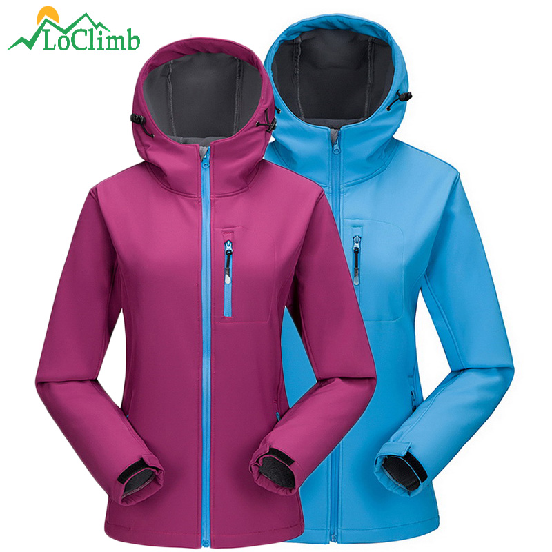 LoClimb Outdoor Camping Hiking Әйелдер курттары Fleece Softshell Әйелдерге арналған Windbreaker Trekking Ski Sport Jacket, AW098