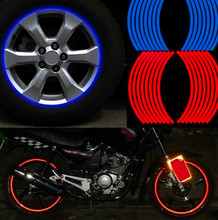 New! 16 Pcs Strips Wheel Stickers And Decals 17″ 18″ Reflective Rim Tape Bike Motorcycle Car Tape 5 Colors Car Styling