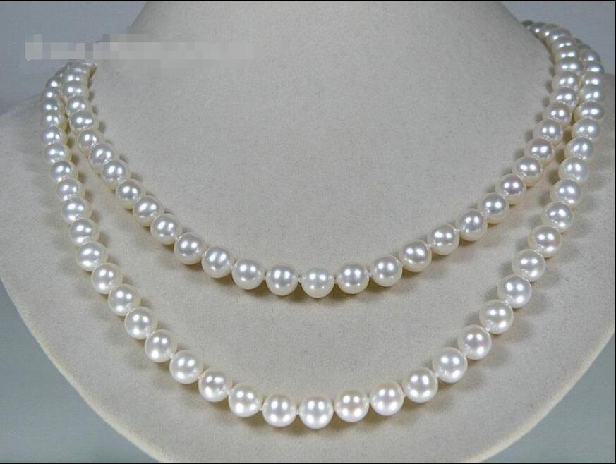 Free shipping hot sale Women Bridal Wedding Jewelry >>32 genuine natural 6.5-7mm AAAA+ round akoya sea pearl necklace hot sale new style aaaa 7mm genuine akoya pink sea water pearl necklace 14kgp j5534