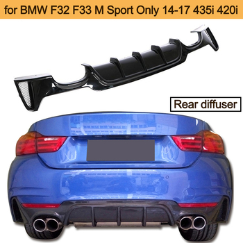 Carbon Fiber Car Rear Bumper Diffuser Lip for BMW F32 F33 M Sport 435i 420i 14-17 Cabriolet Four Outlet Carbon Fiber Car Spoiler image