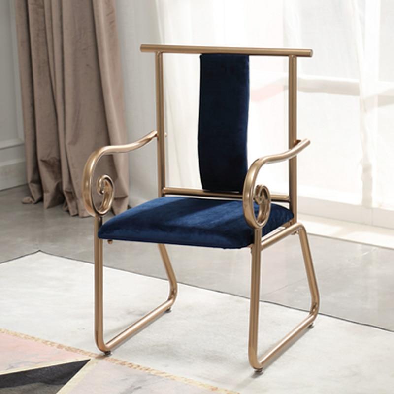 Mode luxueux fer doré à manger chaise négociation chaise café chaise en métal fauteuil salon canapé en métal salon meubles