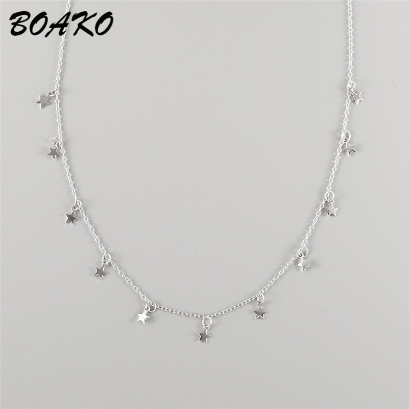 BOAKO 925 Sterling Silver Star Necklace Fashion Drop 11 Star Choker Necklace For Women 2019 Bohemian Necklace Party Jewelry Gift