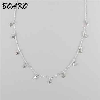 BOAKO 925 Sterling Silver Star Necklace Fashion Drop 11 Choker for Women 2019 Bohemian Party Jewelry Gift
