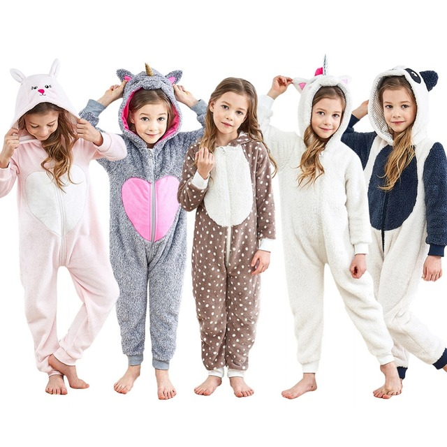 d0278842c0 Unisex Children Unicorn Onesie Kids Halloween Costume Hoodie Pajamas Cartoon  Rabbit Panda Xmas Elk One-Piece Homewear