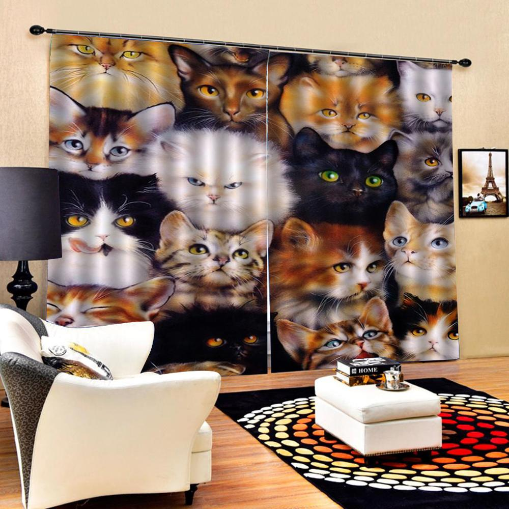 Cute Cat Animals Windows Curtains Thin For Living Room Bedroom Decorative Kitchen Curtains Drapes Treatments Customized Dropshi