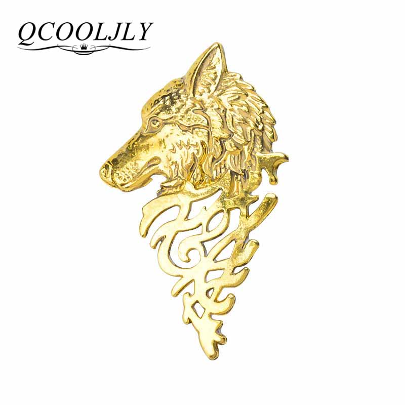 QCOOLJLY Gold Silver brooch pins alloy wolf head collar brooches for women broches jewelry fashion lapel pin men animales