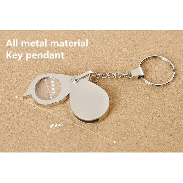 8X Folding Key Ring Magnifier with Key Chain Daily Magnifying Glass Tool Portable Pocket Daily Magnifying lupa Tool