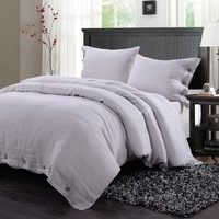 100 Washed Linen Coconut Wood Deduction Solid Grey Bedding Set With 1 Duvet Cover 2 Pillowcases