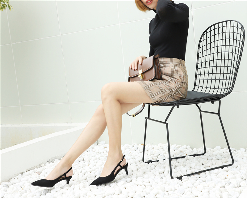 Woman's Spring 6cm Thin High Heels Slingbacks 22