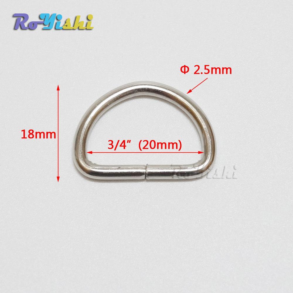 1000pcs pack 3 4 20mm Nickel Plated D Ring Semi Ring Ribbon Clasp Knapsack Belt Buckle