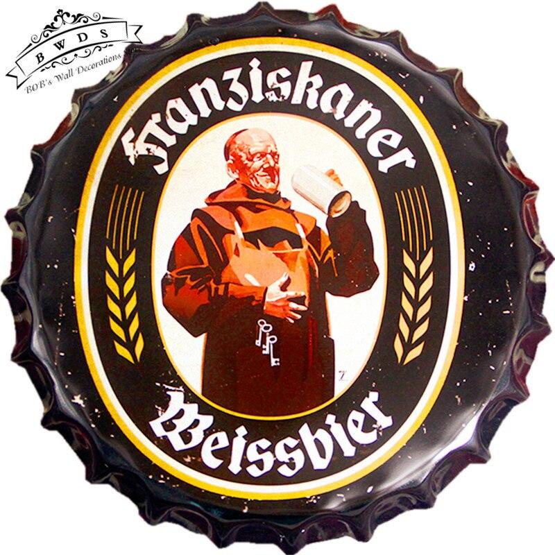 Round Tin Signs Beer Bottle Cap Franziskaner Weissbier Metal Best Bottle Cap Decorations