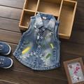 2016 New Baby Boys and Girls Solid Denim Vest Kids Jeans Vest Turn Collar Sleeveless Children Jacket Kids Coats KC-1564