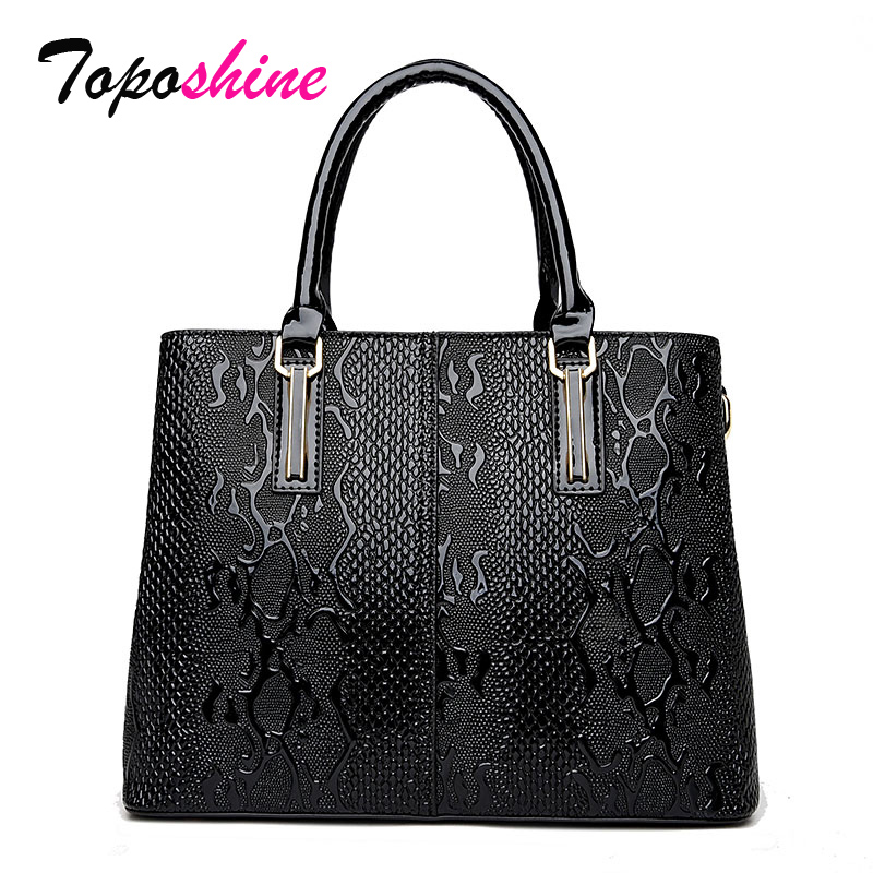 Toposhine Snake Pattern Women Handbag Designer  Office Women Totes Female PU Leather lady Handbags Ladies Portable Shoulder Bag 2017 new casual snake pattern genuine leather women handbag serpentine fashion shoulder bag luxury brand designer female totes