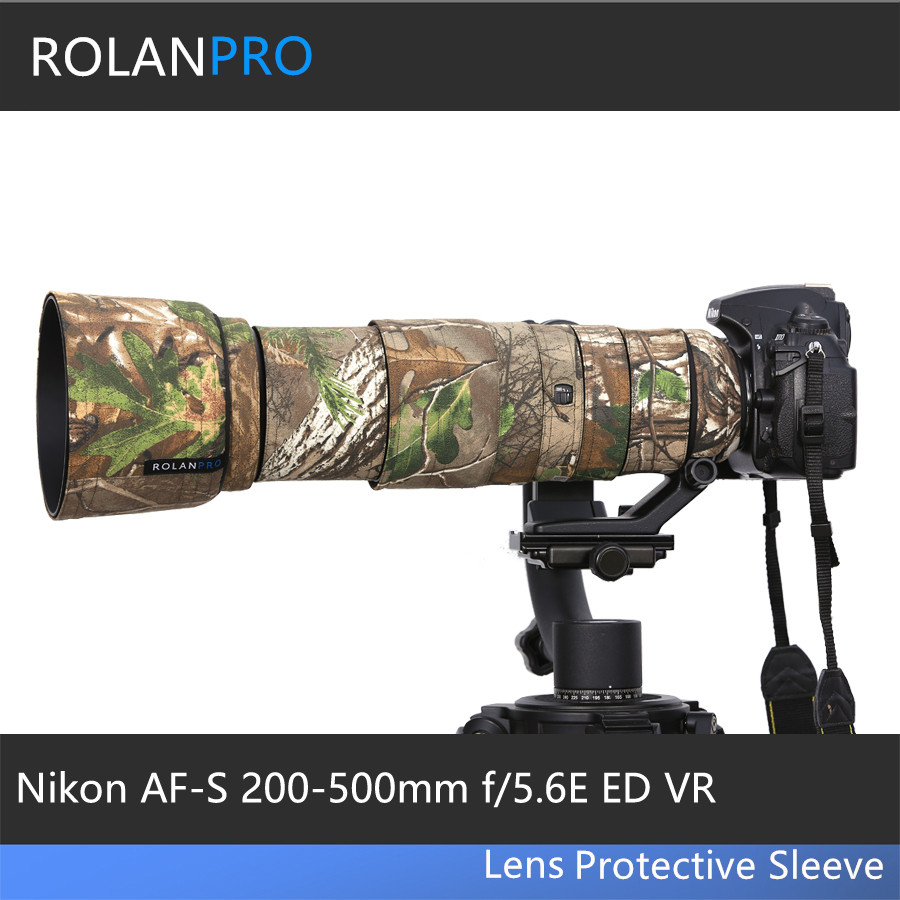 ROLANPRO Camouflage Lens Clothing Rain Cover for Nikon AF S 200 500mm f 5 6E ED