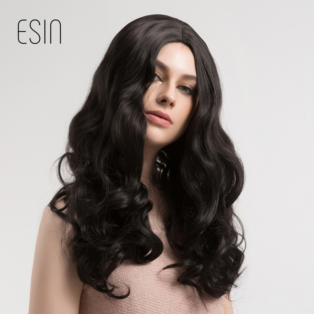 ESIN 22 Inches Long Wavy Wigs for Women Dark Brown Ombre Middle Part Wig with Free Hairnet Natural Full Hair Heat Resistant