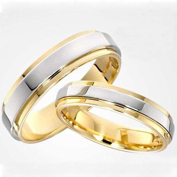 Two Tone Gold and Platinum plated his and hers engagement wedding ring set mens rings size 15 aliancas de casamento em ouro