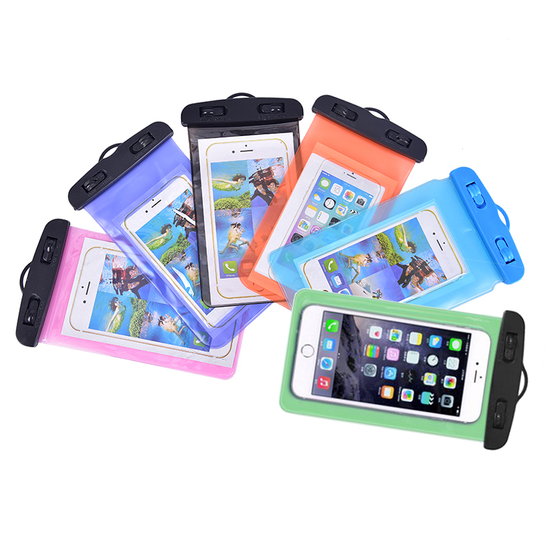 6Colors Swimming Bags Waterproof Bag with Luminous Underwater Pouch Phone Case For 5.5 inch Following Sizes All Phones Surfing Bags     - title=