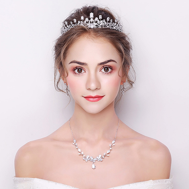 AAA Zircon Crystal Crown Headgear Bridal Jewelry Set Ornaments Wedding Dress Accessories Extravagant Cubic Zirconia High Quality