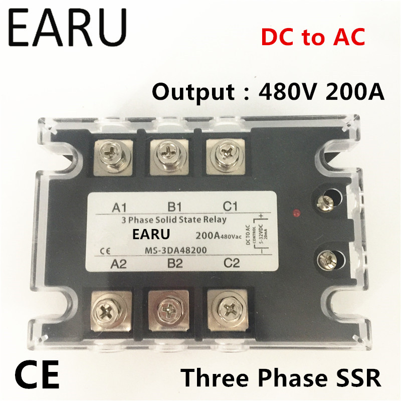 TSR-200DA SSR-200DA Three Phase Solid State Relay DC 5-32V Input Control AC 90~480V Output Load 200A 3 Phase SSR Power DA48200 20dd ssr control 3 32vdc output 5 220vdc single phase dc solid state relay 20a yhd2220d
