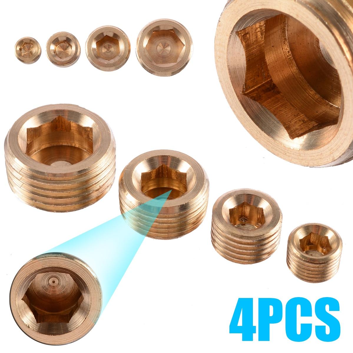 "Brass 1//8/"" 1//4/"" 3//8/"" 1//2/"" NPT Brass Internal Hex Thread Socket Pipe Plug`US"