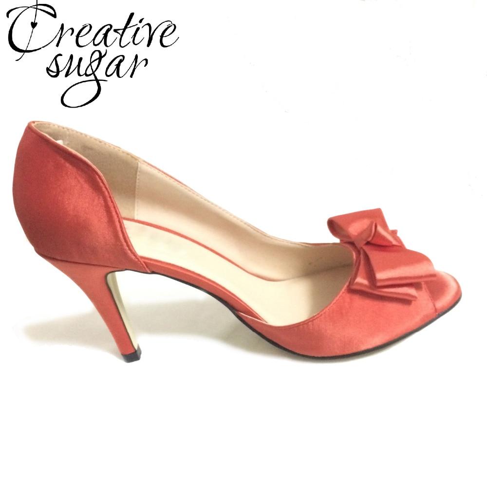 Creativesugar Handmade Coral red satin dress shoes open peep toe D'orsay bow knot 8cm heel wedding party bridal pumps heels