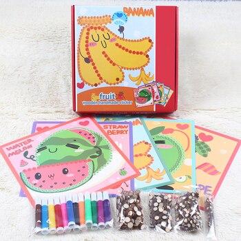 Sabiduría e interés DIY pegatinas de grano de madera hecho a mano pintura Graffiti mosaico rompecabezas juguetes niños pegatinas juguete regalo