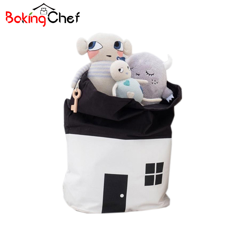 BAKINGCHEF Canvas Children Toys Storage Bags Organizer Household Laundry Clothing Drawstring Hanging Bag Accessories Supplies