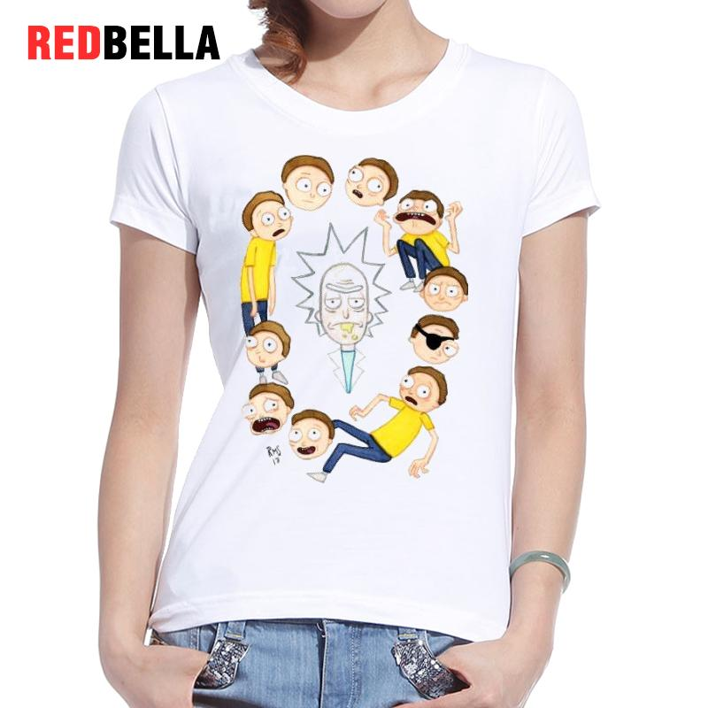 REDBELLA Tee Shirt Femme Rick And Morty Cartoon Tv Anime Cute Humorous T Shirt font b