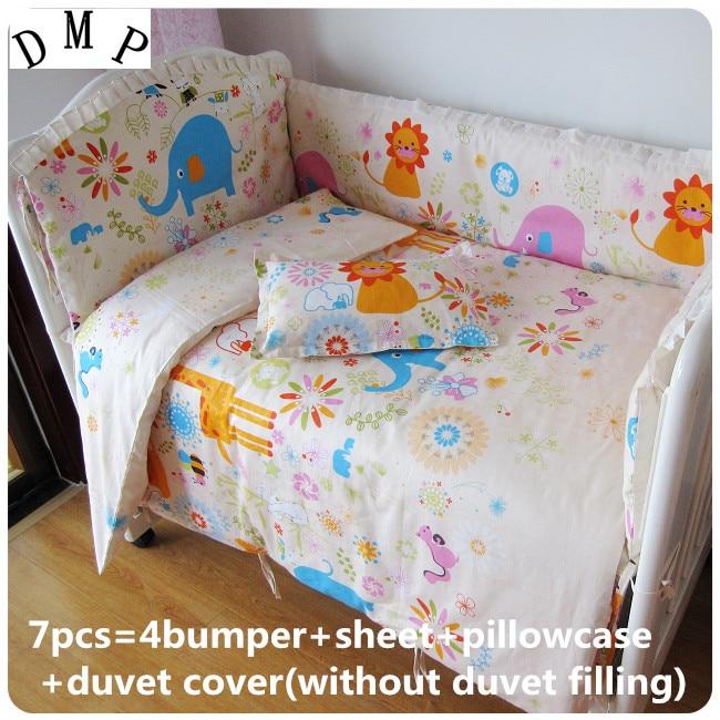 Discount! 6/7pcs Baby bedding sets 100% cotton baby cot bedclothes Cartoon crib bedding set bumpers,120*60/120*70cm discount 6 7pcs 100% puer cotton excellent quality baby bedding cot crib bedding sets 120 60 120 70cm