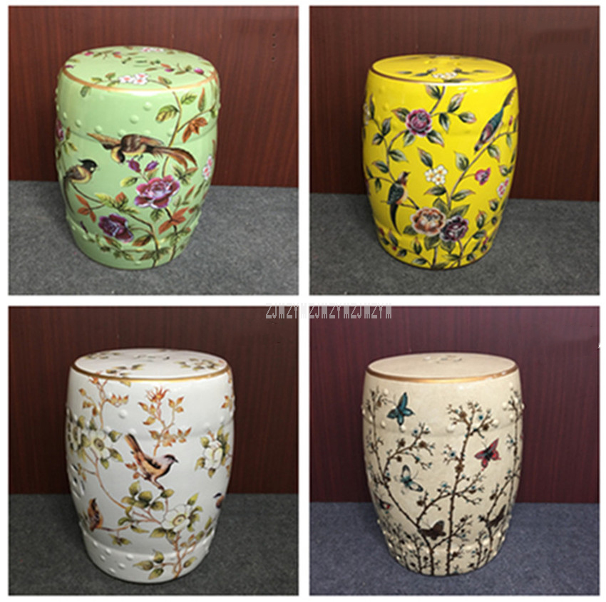 Hand Draw Flower And Bird Butterfly Chinese Ceramic Drum Stool Living Room Home Decorative Change Shoes Makeup Cosmetic Stool decorative living room ceramic antique garden drum stool