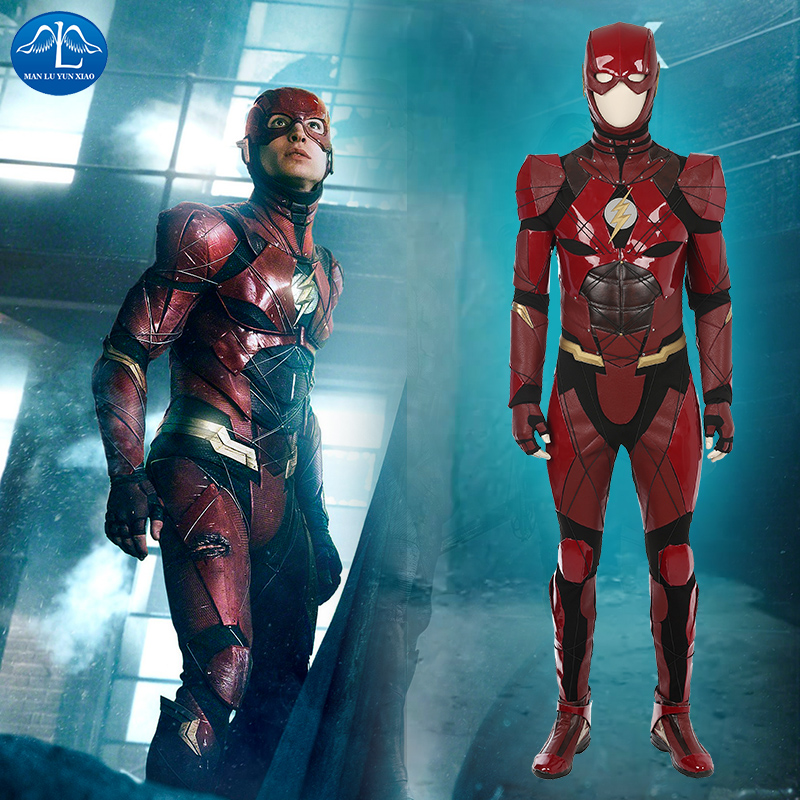 MANLUYUNXIAO New Justice League <font><b>The</b></font> <font><b>Flash</b></font> <font><b>Cosplay</b></font> Costume Red Leather Deluxe Outfit Halloween Costumes for Men High Quality image