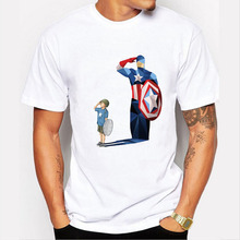 Newest men's captain and boy salute design t-shirt funny captain america print tee shirts tshirt homme short sleeve