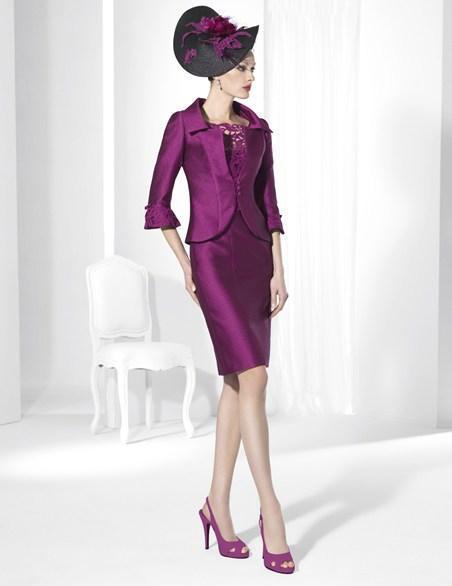 Платье-футляр из двух частей; платья для мам с застежкой-молнией; длина до колена; кружевное платье из тафты; платье для матери невесты - Цвет: Фиолетовый