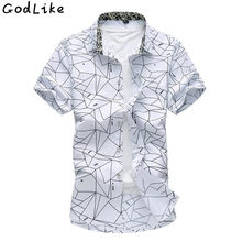 2018 Summer Slim Fit Short sleeves Mens Pattern Shirts 100% Cotton Casual  Camisa Masculina Brand 23ce95df6