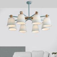Nordic Pendant Lights For Home Lighting Modern Hanging Lamp Iron Wooden cloth Lampshade LED Bulb Bedroom Kitchen Light 90 260V