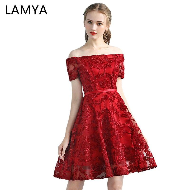 LAMYA Short Simple A Line Prom Dresses 2019 Fashinable Boat Neck Evening Dress With Short Sleeve Lace Plus Size Vestido De Festa