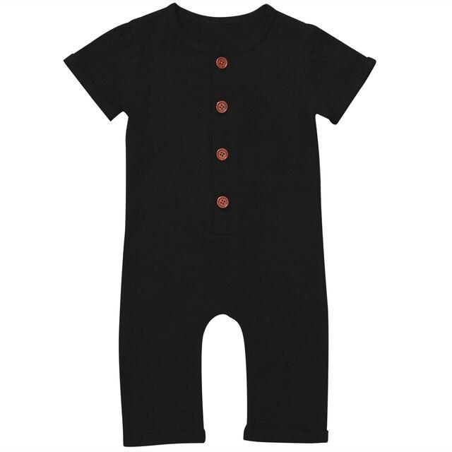 תלבושות כותנה בגדי ילדה ילד Romper תינוק שזה עתה נולד תינוק חמוד סרבל רכיסה בודד שחור