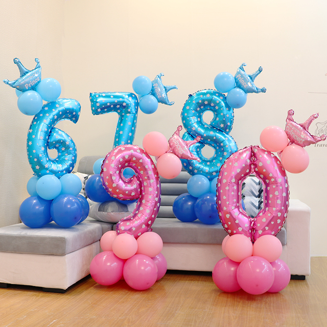 S Birthday Balloons Blue Pink Number Foil 1 2 3 4 5 6 7 8 9 Years Happy Party Decorations Kids Ballon