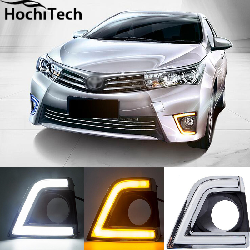 High quality 3 colors ice blue Car DRL Daytime running lights fog light For Toyota Corolla 2014 2015 2016 Yellow Turning Singal high quality 3 colors white yellow ice blue led car drl daytime running lights fog light with yellow turn signal for honda jade