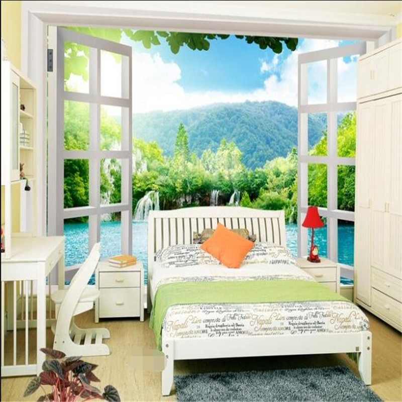 Custom any size modern wall wallpaper window lake scenery for Scenery wallpaper for bedroom