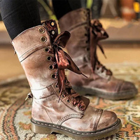 Women's boot Large Size 43 Lace Up Flower PU leather boots woman Non Slip Rubber boots for women Boots Retro Cozy Martin boots